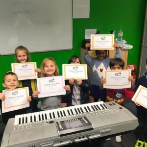 Group keyboard lessons for age 5 and up.